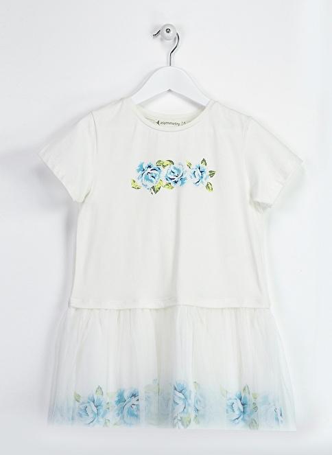 Asymmetry Tüllü Elbise Beyaz